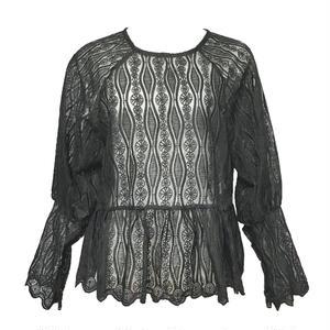Vintage Lace Peplum Blouse (Black)
