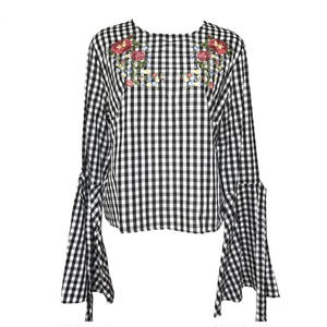 Gingham-check Embroidery Blouse