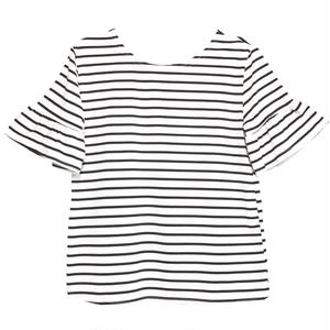 Flare Sleeve  Border T-shirt