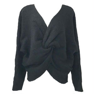 Mohair Touch Twist Design Knit (Black)