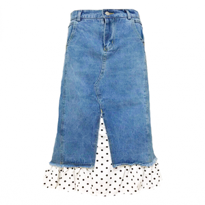 Dot Hem Layered Denim Skirt