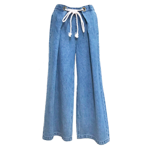 Tuck Flare Wide Denim Pants (Blue)
