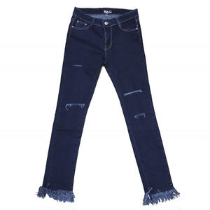 Fringe Hem Stretch Skinny Denim
