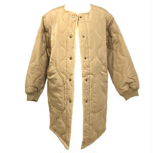 Quilting No Collar Jacket (Beige)