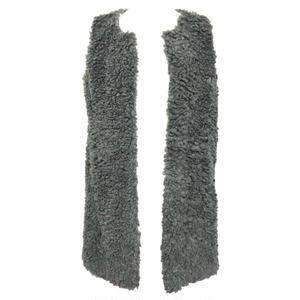 Sheep Boa Long Vest  (Gray)