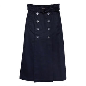 Front Button Trench Skirt (Navy)