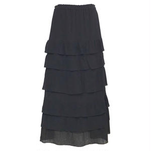 Tiered Long Skirt (Black)