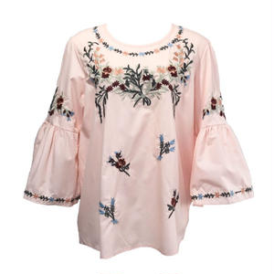 Candy Sleeve Flower Embroidery Blouse (Pink)