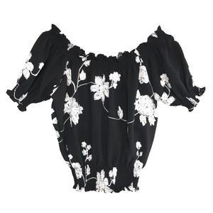 Flower Embroidery Off-shoulder Blouse