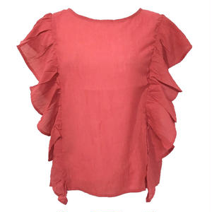 Volume  Frill Back Open Blouse