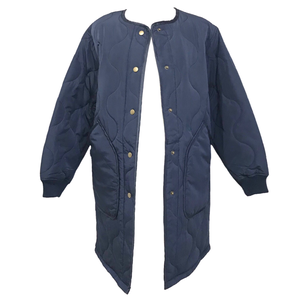 Quilting No Collar Jacket (Navy)