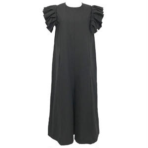 Cut Off Frill Linen Wide All-in-one (Black)