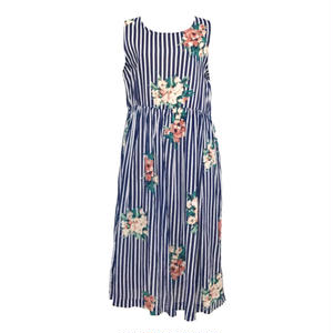 Flower Stripe  Cotton One-piece (Navy)