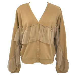 Sweat Tulle Frill Cardigan (Camel)