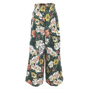 Vintage Flower Tuck Wide Pants