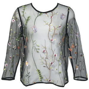 Botanical Embroidery Tulle Blouse