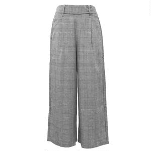 Glen-check  Ankle  Wide Pants