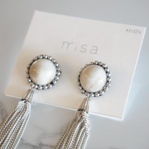 misa // ピアス tassel  white beige