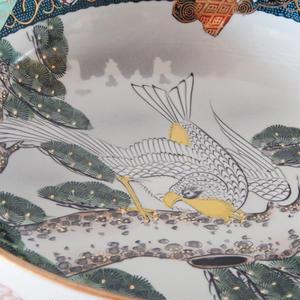 古道具 九谷 青粒  絵付 大鉢(7.5寸)