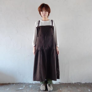 COCOLO ワンピ-スエプロン(Cotton Linen : Grey)