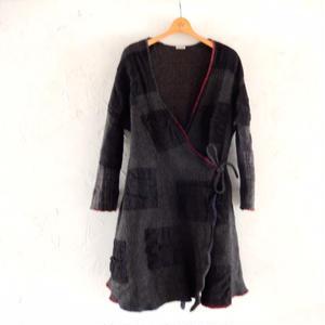 takuroh shirafuji Wool Cache-cœur Coat(Boro)