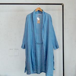 fog linen work DOMINIQUE ROBE COAT BLUE AZUR