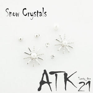 (7個セット)雪の結晶 パール 一粒ストーン シルバー ゴールド セットピアス  スタッドピアス レディース アクセサリー:PSS170806