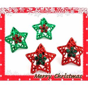 ビジュー カラー スター ピアス クリスマス *:..。O○☆ ゴールド レディース かわいい アクセサリー:PKS151011