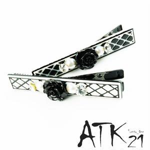 モノトーン チェック black カメリア パール ストーン ヘアピン ヘアクリップ ダッカール くちばしクリップ 簡単ヘアアレンジ レディース ヘアアクセサリー:HD171001