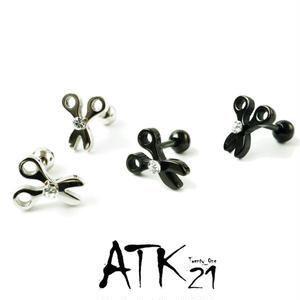 両耳用(2点セット)はさみ モチーフ ハサミ 鋏 scissors 16G ステンレスピアス スレートバーベル 軟骨 ボディピアス メンズ レディース ユニセックス アクセサリー:MPS181005
