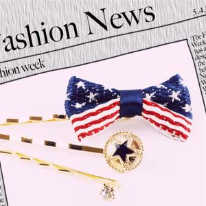 (3本セット) アメリカ国旗 リボン スター ビジュー カラー ヘアピンセット キラキラ ストーン ヘアピン ピン アメピン 前髪 髪どめ まとめ髪 ヘアーアクセサリー 大人可愛い