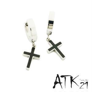 両耳用(2点セット) クロス 十字架 フープ リング ピアス 18G  ぶら下がりピアス ブラック シルバー ステンレスピアス メンズ レディース ユニセックス アクセサリー:MPS170701