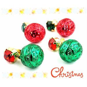 ビジュー カラーボール スタッド ピアス クリスマス *:..。O○☆ レディース アクセサリー:PKS151010(L)