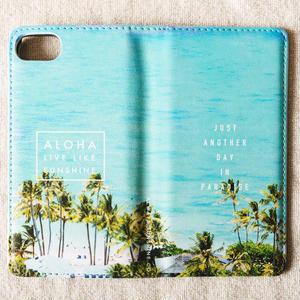 《ALOHA LIVE LIKE Collection》マグネットタイプ手帳型カバー-Lanikai Blue-