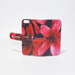 "Plumeria Collection 手帳型iPhoneケース ""Red"""