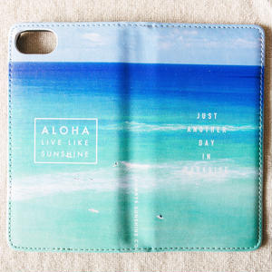 《ALOHA LIVE LIKE Collection》マグネットタイプ手帳型カバー-Blue Hawaii-