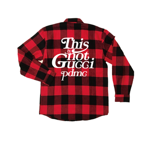 """""""18AW""""  PANDEMIC ×Rothco Extra Heavyweight  Check Shirt  """"This is Not"""" -Red-"""