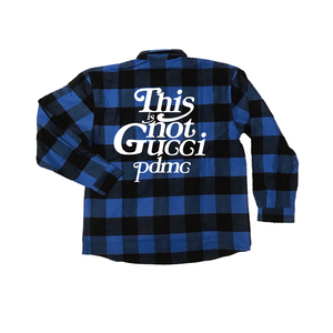 """""""18AW""""  PANDEMIC ×Rothco Extra Heavyweight  Check Shirt  """"This is Not"""" -Blue-"""