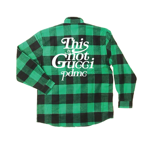 """""""18AW""""  PANDEMIC ×Rothco Extra Heavyweight  Check Shirt  """"This is Not"""" -Green-"""