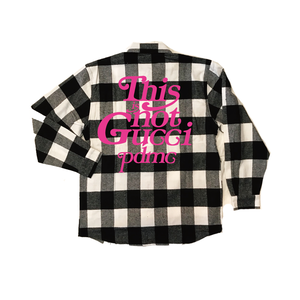 """""""18AW""""  PANDEMIC ×Rothco Extra Heavyweight  Check Shirt  """"This is Not"""" -White-"""
