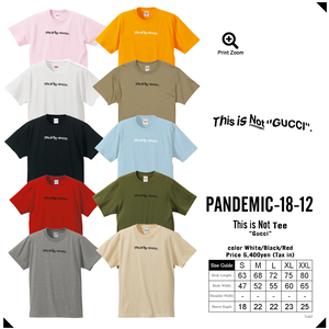 """""""18SS""""再販予約!!  PANDEMIC  パンデミック This is Not Tee  -not G〇cci-【10color】"""