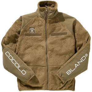 SLEEVE LOGO FLEECE JACKET (BROWN)