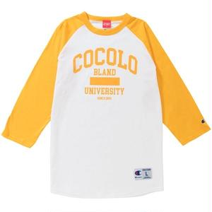 COCOLO UNIVERSITY RAGLAN TEE (WHITE/GOLD)