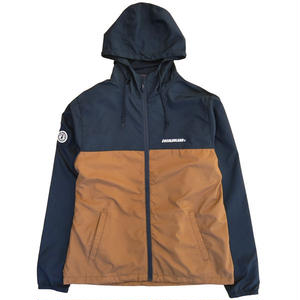 SWITCHING NYLON WINDBREAKER (NAVY/BROWN)