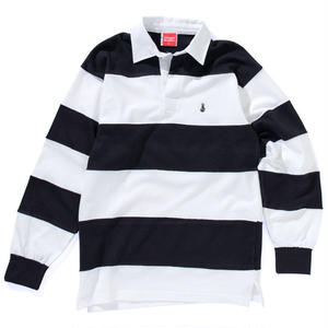 EMBROIDERY BONG STRIPE RUGBY SHIRT(WHITE/NAVY)