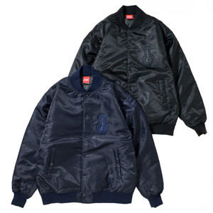 BONG APPLIQUE STADIUM JKT (BLACK/NAVY)