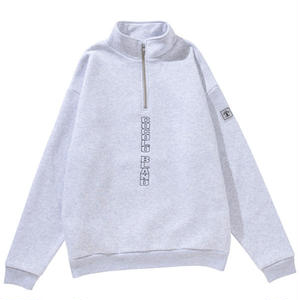 VERTICAL LOGO HALF ZIP SWEAT(ASH)
