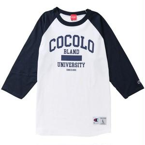 COCOLO UNIVERSITY RAGLAN TEE (WHITE/NAVY)