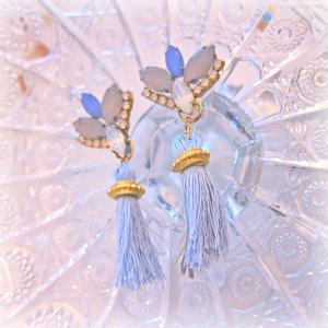 Gray and ice blue fringe Earrings/Pierce