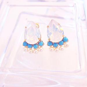 White opal ✖️Turquoise Blue Earring / Pierece